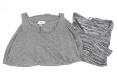 Lot of 2 Women Old Navy Gray Black Soft Tank Top Shirt Tee Size Medium
