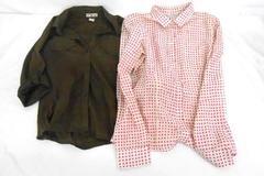Lot of 2 Women Halogen & Caribbean Joe Button Up Shirt Tops Size Medium
