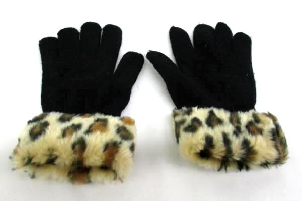 Girls Winter Accessories Lot Of 3 Piece Knit Hat Gloves Slippers Cheetah
