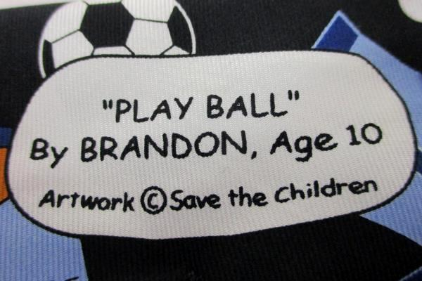"""Save Children Originals 100% Silk """"Play Ball"""" by Brandon Age 10 Men's Neck Tie"""