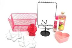 Lot of Dorm Room Accessory Decor Basket Glass Vase Candle Holder Lotion Bedroom