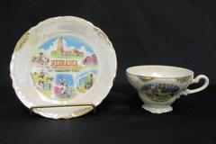 Vintage Nebraska Souvenir Tea Cup Saucer Exco Japan Opalescent Gold Gilt