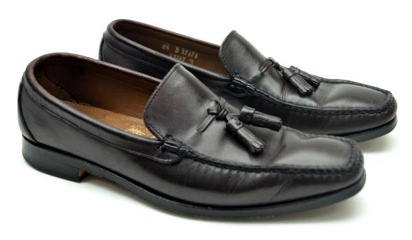 ALLEN EDMONDS Men's 8.5 Dark Brown Leather Tassel Loafers, EUC