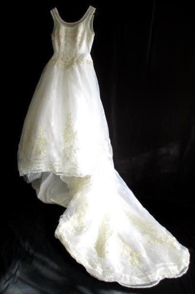 Ginza Collection Ivory Lace Beaded Wedding Gown Princess Ball w/ Straps Size 14