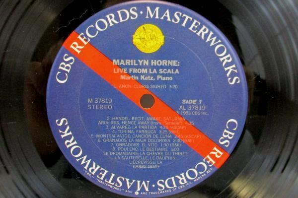 MARILYN HORNE LIVE AT LA SCALA 33 RPM LP VINYL M37819 CBS MASTERWORKS