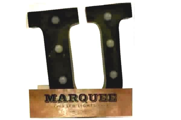 "Marquee 9"" Tall Metal LED Lights Letter ""U"" Rustic Rust Gunmetal Industrial"