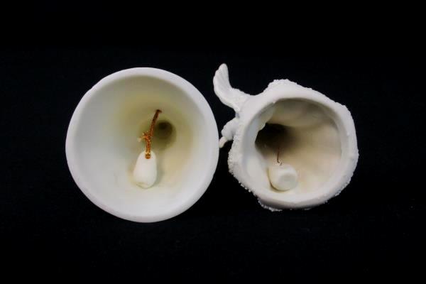 """Set of 2 White Porcelain Angel Cherub Bells 4"""" 4.25"""""""