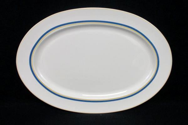 """Villeroy & Boch Dinnerware Carrousel Blue Gold Bands Oval Platter 14"""""""