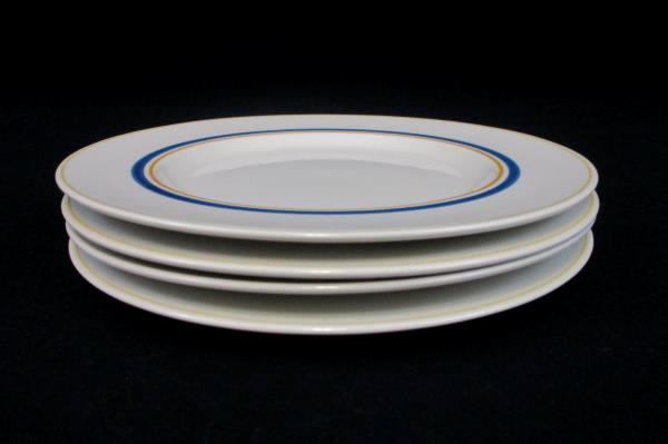 Set of 4 Villeroy & Boch Carrousel Blue Gold Bands Bread & Butter Plates