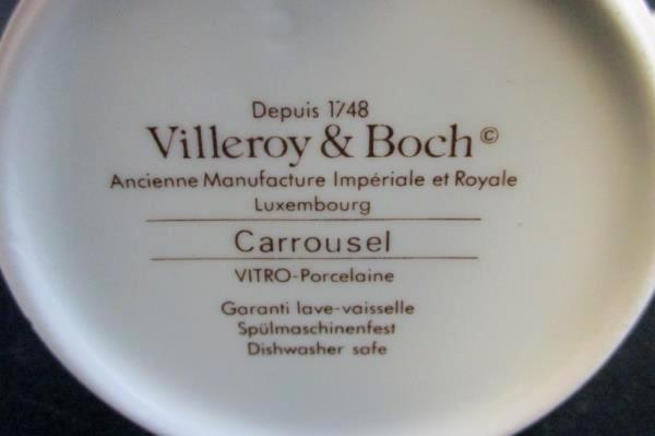 Set of 6 Villeroy & Boch Tea Cups Carrousel Blue Gold Bands Espresso Demitasse