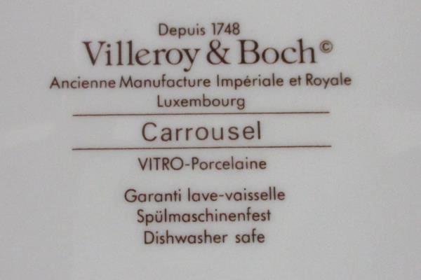 Set of 6 Villeroy & Boch Carrousel Blue Gold Bands Flat Coffee Tea Cups
