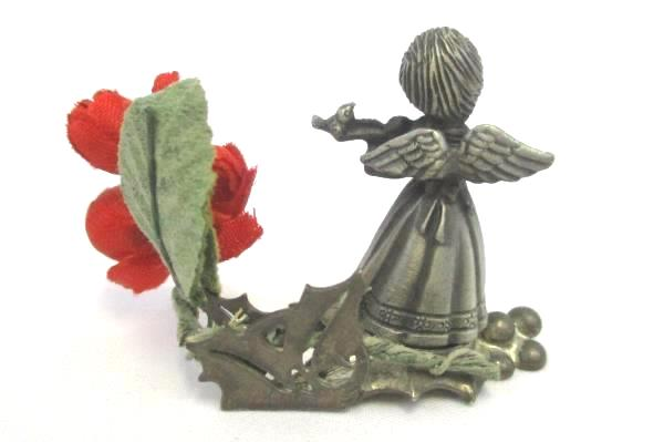 Fort Pewter Christmas Angel Place Card Holder Violin Miniature