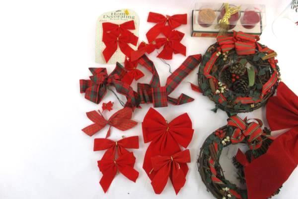 "Lot of Vintage Christmas Decor Two 8"" Wreaths 14 Felt Bows Candles Hurricane"