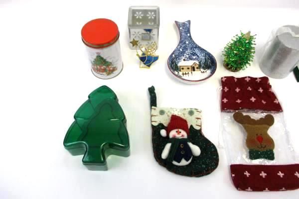 Large Lot of Christmas Decor Candle Snowflake Ikea Mini Stockings Spoon Rest Tin
