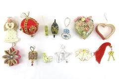 13 Vintage Christmas Ornaments Brass Umbrella Flower Heart Duck Angel Truck