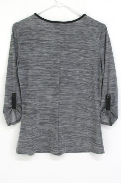Vintage Suzie Women's Blouse Roll Tab Sleeves Quarter Zipper Front Size 8 Black