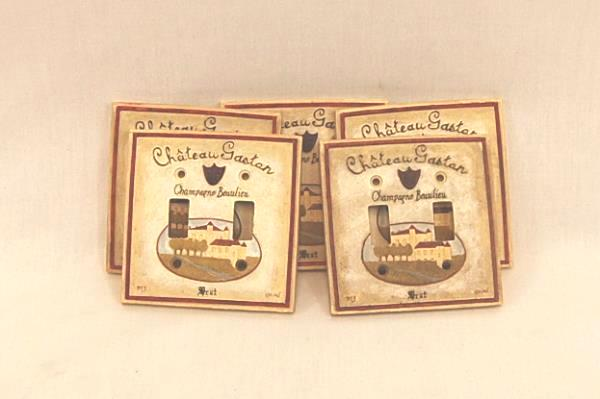 Lot of 5 French France Countryside Champagne Chateau Gaston Double Switch Plate