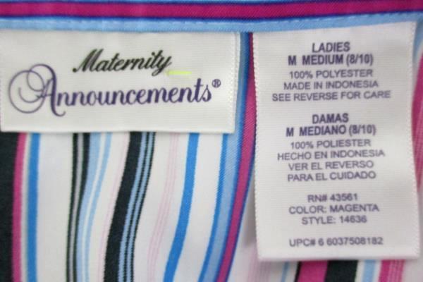 Women's Maternity Announcements Button Up Blouse Stripes Button Wrist Cuff Sz M