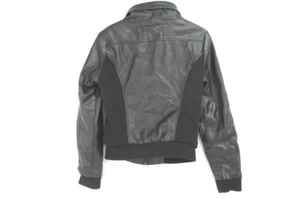 Lane Crawford Black Zip-Up Faux Leather Ribbed Sides Jacket Women's M