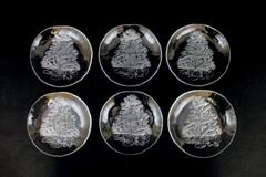 "Set of 6 Himark Clear Glass Christmas Tree Plate Plates Salad Dessert 7"" Holiday"