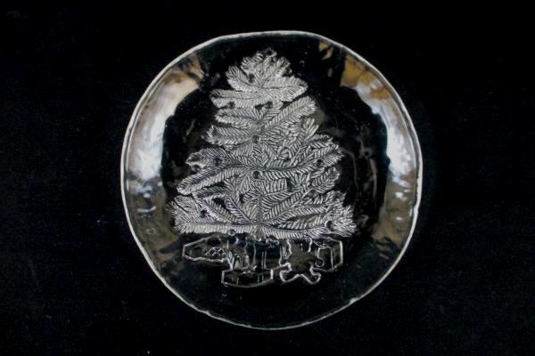 "Set of 6 Himark Clear Glass Christmas Tree Plate Plates Salad Dessert 7"" Holiday"