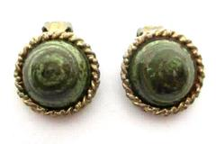 Vintage Green Swirled Art Glass Bullseye Sparkly Clip On Earrings Gold Tone