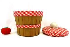 Vintage Sewing Basket Apple Red White Gingham Pom Pom w/ Tomato Pin Cushion