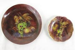 "Lot of 2 Artisan Signed Hand Painted Ceramic Plates 7"" & 4.5"" Grapes Winery"