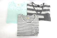 3 T-Shirt Tops Women's Bordeaux Dolman Hollister Striped Style & Co Lace Ombre M