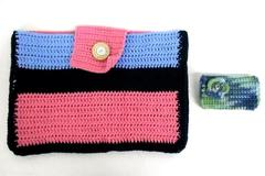 Women's Accessory Lot 2 Pieces Crochet Tablet Case Bag And Wallet Multicolor