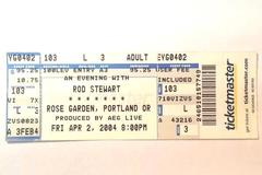 Rod Stewart APR 2 2004 Concert Ticket Rose Garden OR Ticketmaster