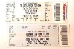 2 Australian Pink Floyd OCT 16 2007 Concert Tickets Rose Garden Portland OR