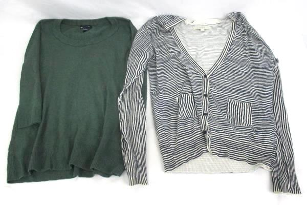 Lot of 2 Tops Gap Green Sweater Abstract LOFT Navy White Striped Women's M