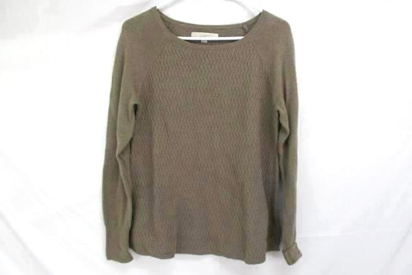 LOFT Lot of 2 Brown 1/2 Sleeve Boat Neck Blouse Taupe Knit Sweater Women's S