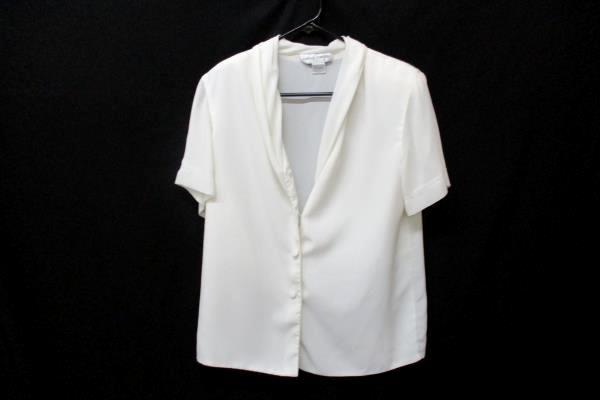 Lot of 2 Women's Career Blouse Slacks Set Caslon Casual Corner Sz 10 Gray Cream