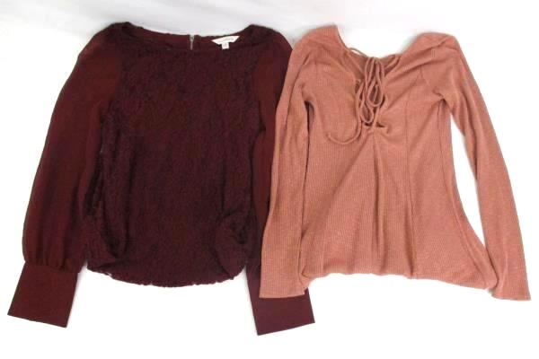 2 Mini Dresses Charming Charlie Sheer Sleeve Lace Forever 21 Tie Back Women's M