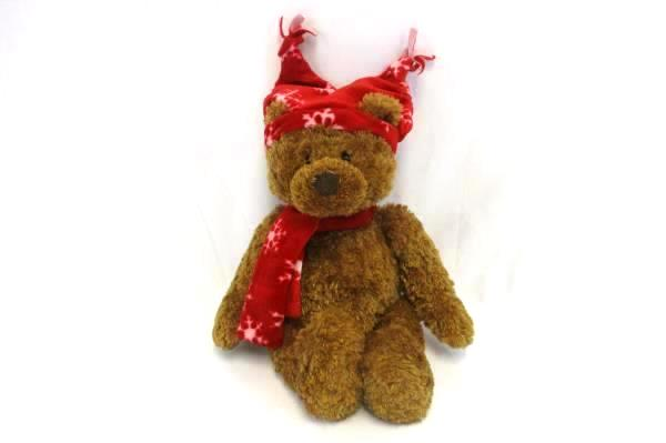 Gund Stuffed Bear Oliver Christmas Bear in Red Snowflake Cap & Scarf #88215