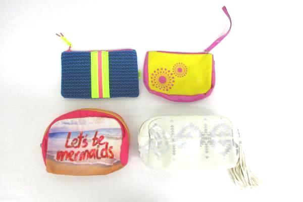 Lot Of 4 Make Up Bags Bath & Body Works Ipsi Tampax Multi-Colored Various Makers
