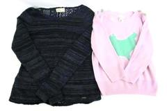 Lot of 2 Sweaters Hollister Lace Back Downeast Crop Enamel Button Junior Women M