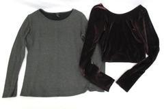 Lot 2 Tops Forever 21 Long Sleeve Abercrombie Velvet Crop Long Sleeve Women's M