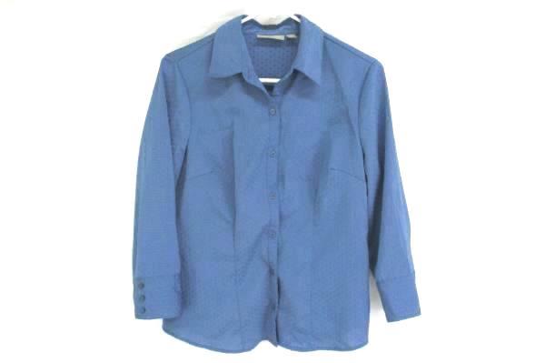 Croft & Barrow Blue Texture Polka Dot Stretch Cinch Waist Button Blouse Womens S