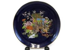 Kutani Cobalt Enamel Collector Plate Floral with Rickshaw Excellent Condition