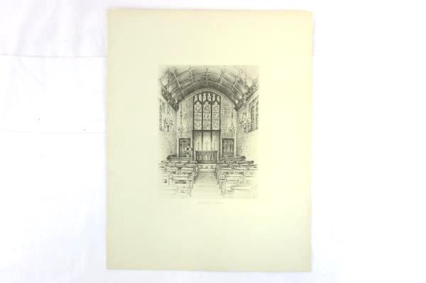 "Set of 2 Vintage Hilton Chapel Drawing Art Chas E. Dewitz 1935 14"" x 11"""