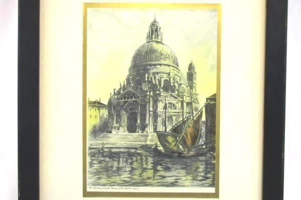 Antique Etching Venice Sant Maria della Salute Church Gondolas Art Print Framed