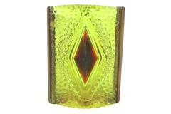 Vintage Triangle Shaped Acrylic Wood Candle Holder Diamond Hobnail Yellow Brown