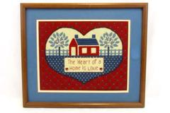 """Cross Stitch Framed Picture """"The Heart of a Home is Love"""" 19.25"""" x 16.25"""""""