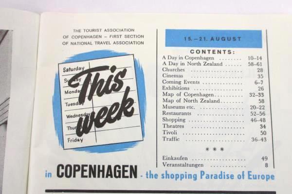 COPENHAGEN This Week in Copenhagen Tourist Guide Vintage August 1964 No. 21