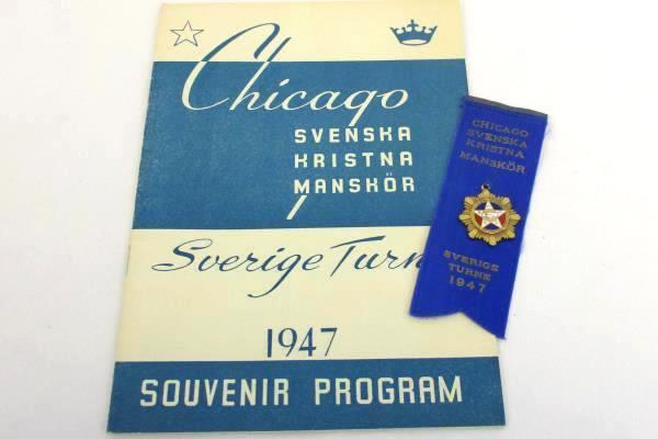 Chicago Swedish Christian Men's Choir Sweden Tour 1947 Pin Ribbon w/ Program