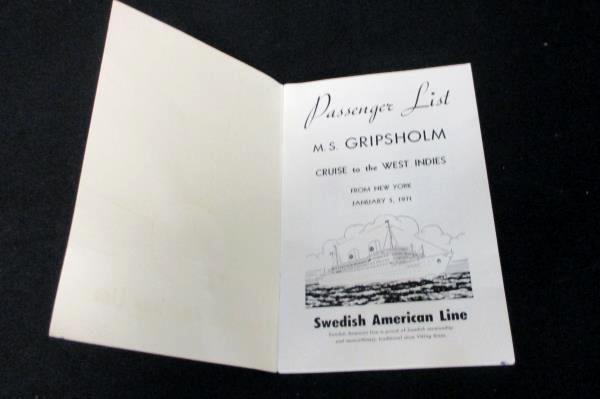 MS Kungsholm Cruise to the West Indies Passenger List Swedish American Line 1971