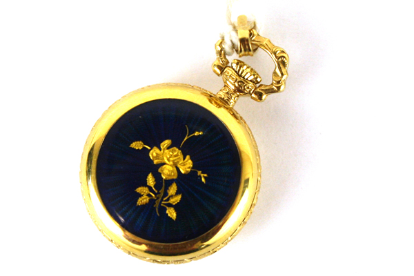 BERNEY Swiss Petite WATCH PENDANT Blue Enamel Gold Rose